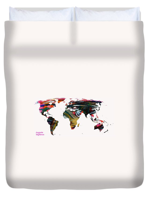 Augusta Stylianou Duvet Cover featuring the digital art World Map And Human Life by Augusta Stylianou