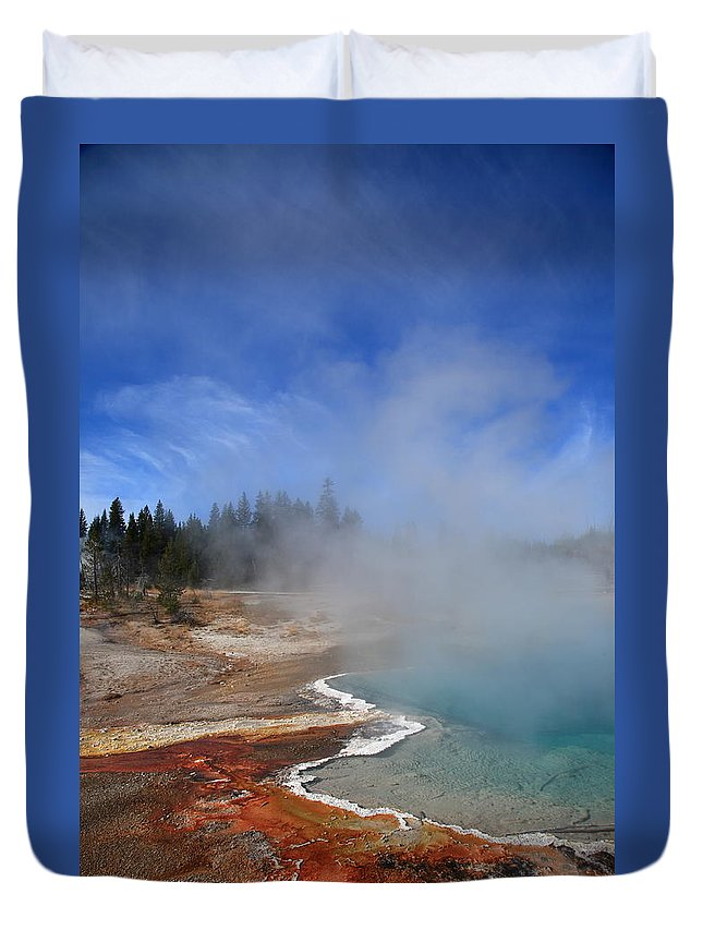 America Duvet Cover featuring the photograph Yellowstone Park Geyser by Frank Romeo