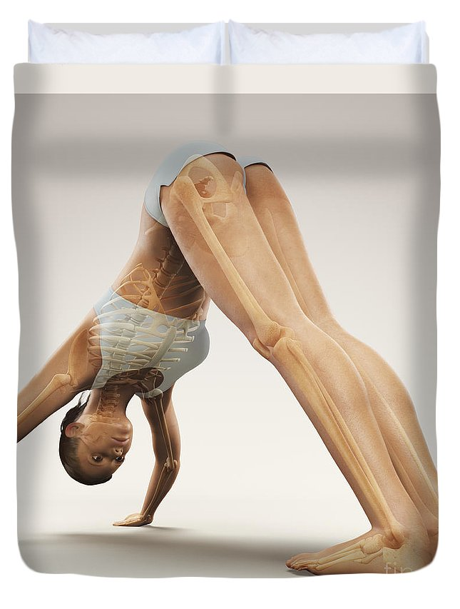 3d Visualisation Duvet Cover featuring the photograph Yoga Downward Facing Dog Pose by Science Picture Co