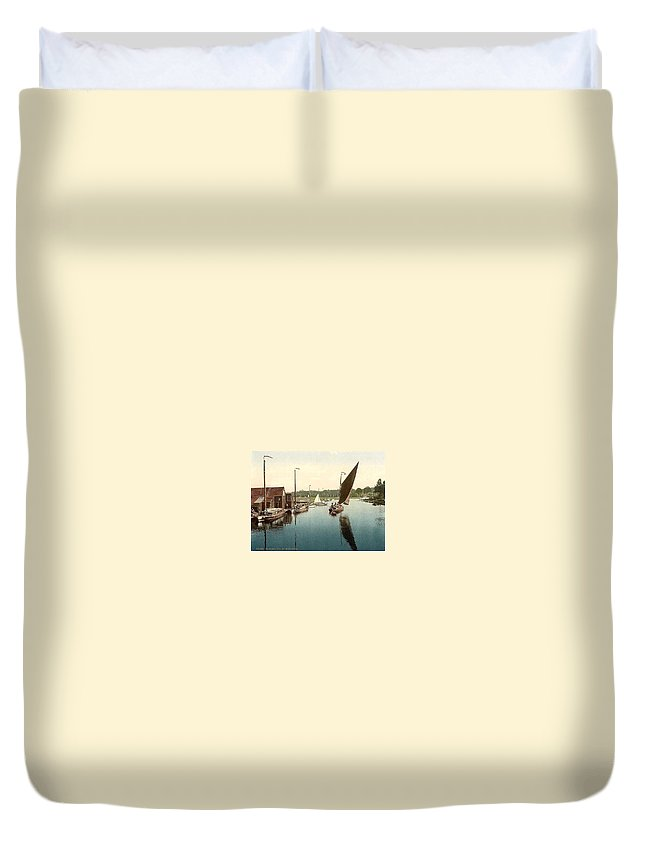 Norfolk Duvet Cover featuring the painting Norfolk Overstrand Beach by MotionAge Designs