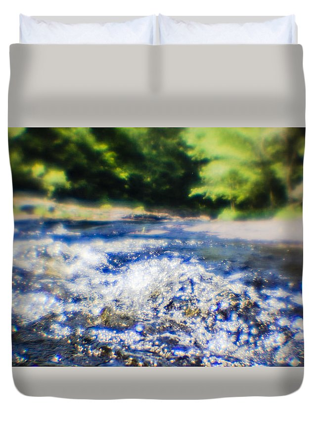 Water Duvet Cover featuring the photograph The Stream In Mountain by Alex Potemkin
