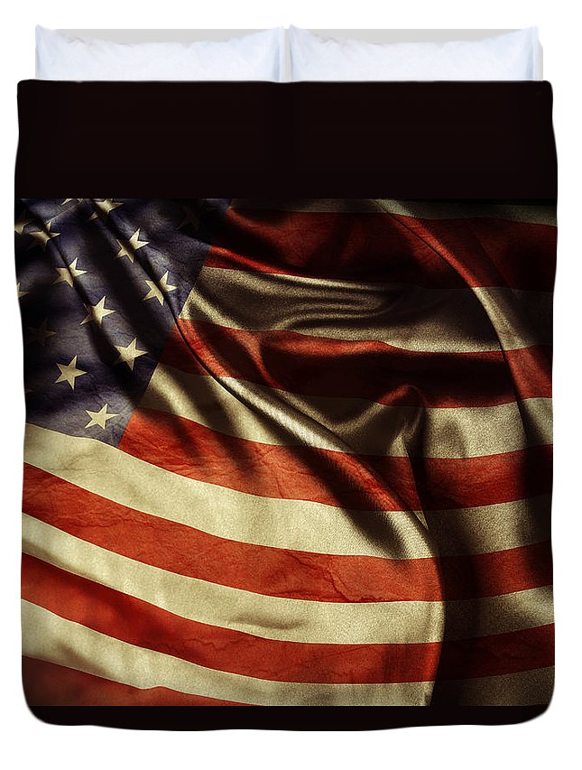 Flag Duvet Cover featuring the photograph American Flag 51 by Les Cunliffe