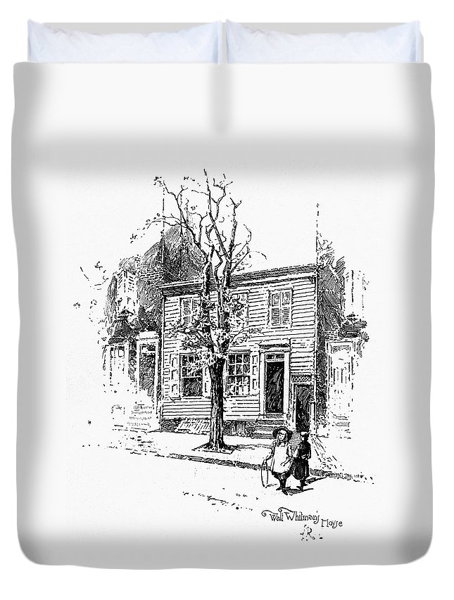 1892 Duvet Cover featuring the drawing Walt Whitman (1819-1892) by Granger