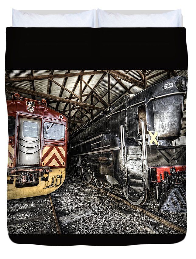 Railway Duvet Cover featuring the photograph 321 And 523 by Wayne Sherriff