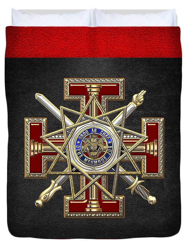 'ancient Brotherhoods' Collection By Serge Averbukh Duvet Cover featuring the digital art 33rd Degree Mason - Inspector General Masonic Jewel by Serge Averbukh