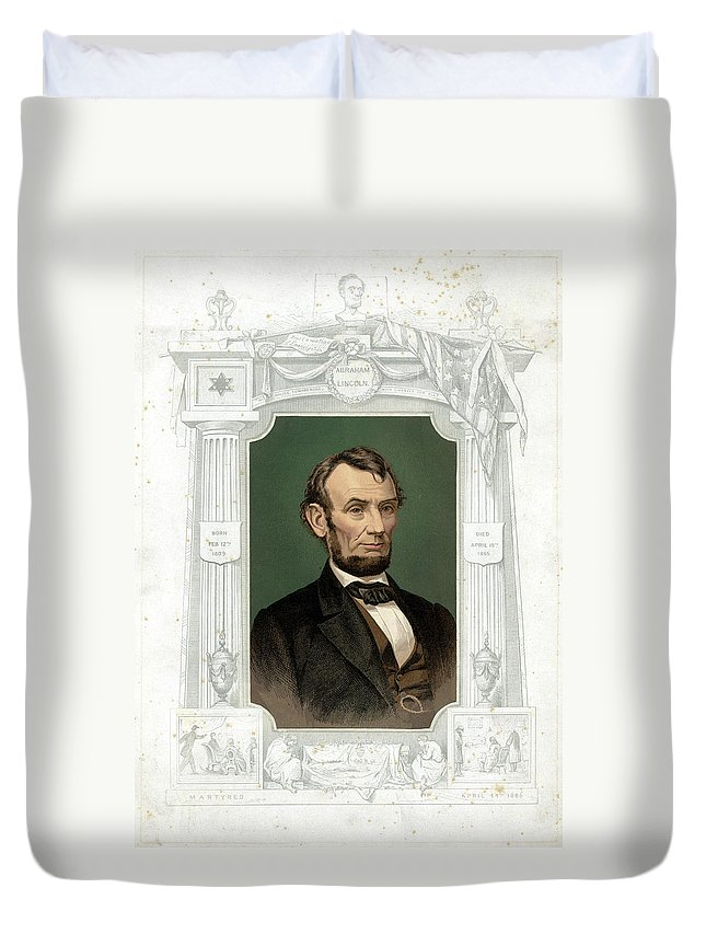 1865 Duvet Cover featuring the painting Abraham Lincoln (1809-1865) by Granger