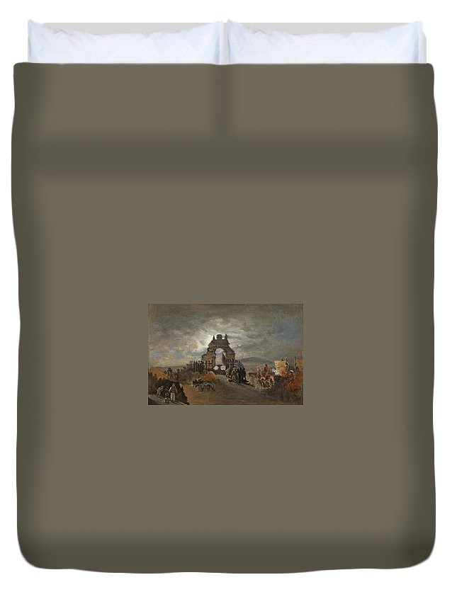 Over The Ramparts We Watch Duvet Cover featuring the painting Over The Ramparts We Watch by MotionAge Designs