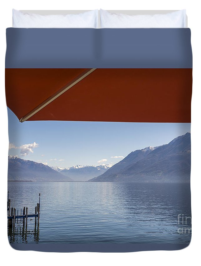 Parasol Duvet Cover featuring the photograph Alpine Lake by Mats Silvan