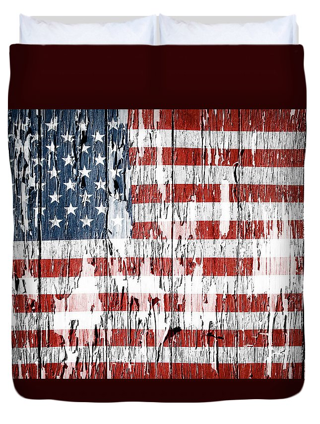 Flag Duvet Cover featuring the photograph American Flag Grunge Effect by Les Cunliffe