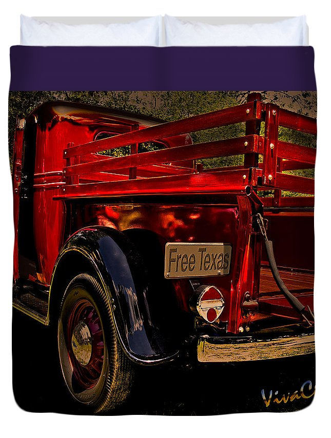 Ford; Chevrolet; Chevy; Dodge; Farm; Pickup; Truck; Hot; Rod; Rat; Street; Custom; Vintage; Old; Restore; Sinklier; Chas; Vivachas; Texas; Free; Freedom; Republic; Independence;ranch Duvet Cover featuring the photograph 37 Ranch Truck by Chas Sinklier