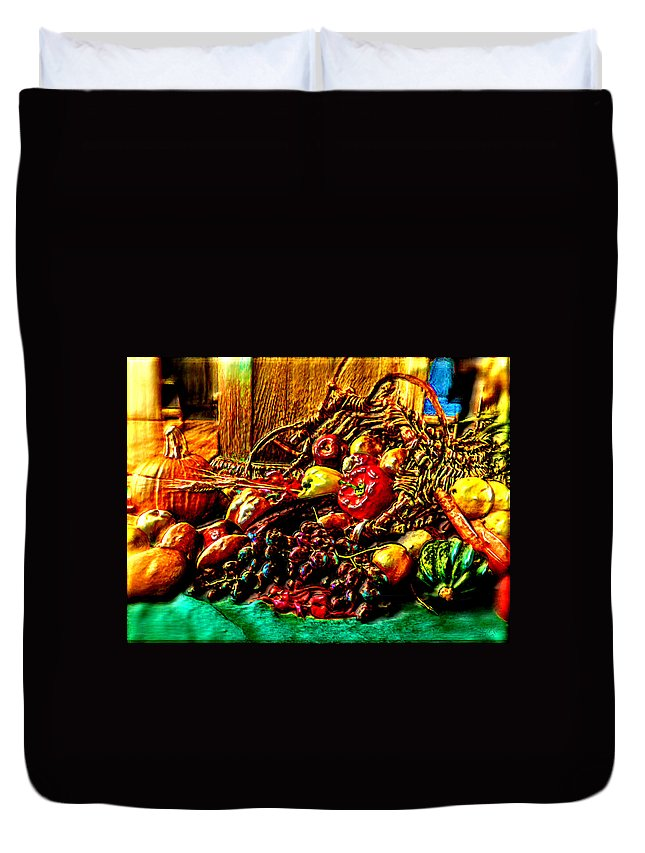 Fruit Duvet Cover featuring the painting 3d Cornucopia In Watercolor by Bruce Nutting