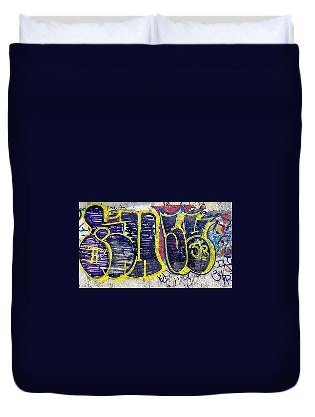 3t Duvet Cover featuring the photograph 3t Graffiti by Julie Niemela