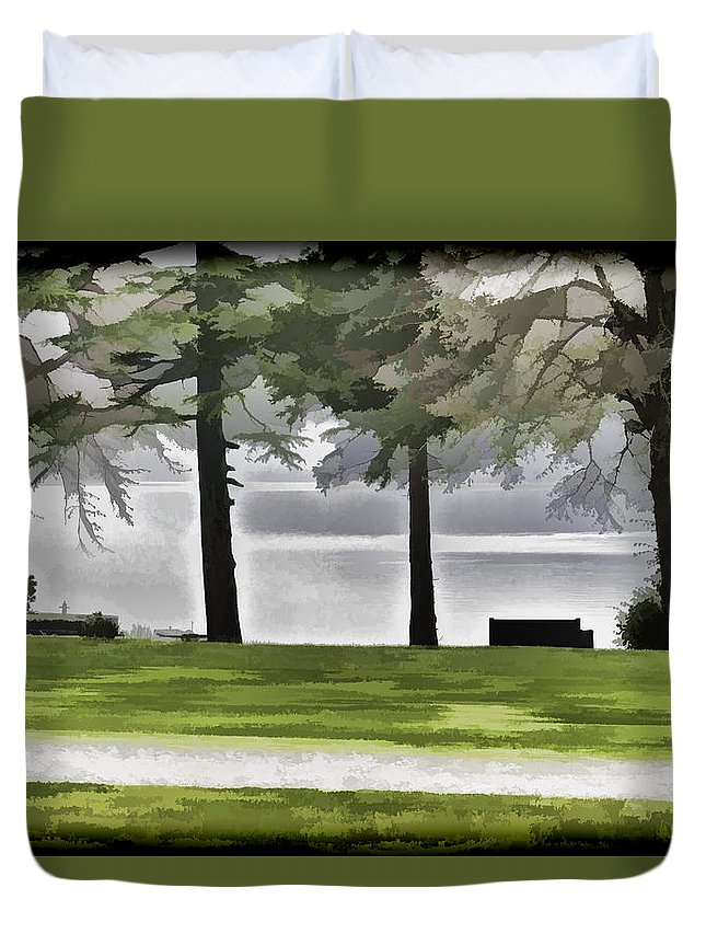 Bench Duvet Cover featuring the digital art A Bench And Path On The Shore Of Loch Ness In Scotland by Ashish Agarwal