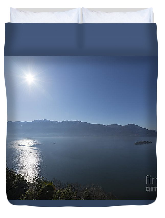 Lake Duvet Cover featuring the photograph Alpine Lake With Mountain by Mats Silvan