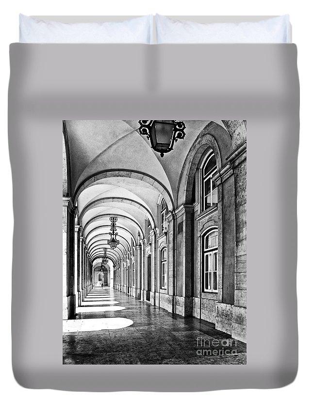 Lisbon Duvet Cover featuring the photograph Arcades Of Lisbon by Jose Elias - Sofia Pereira