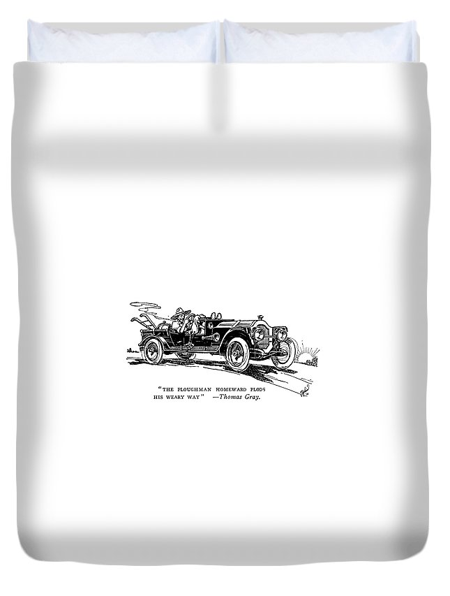 1914 Duvet Cover featuring the painting Automobile Cartoon, 1914 by Granger