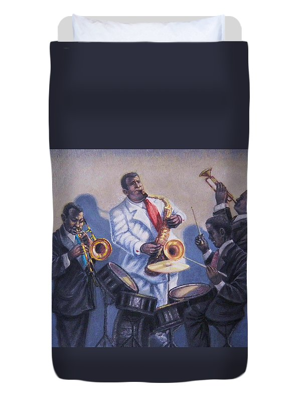 Jazz Duvet Cover featuring the painting Big Jay And Company by Raffi Jacobian