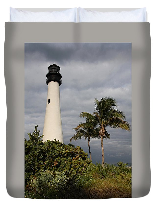 Lighthouse Duvet Cover featuring the photograph Cape Florida Lighthouse by Christiane Schulze Art And Photography