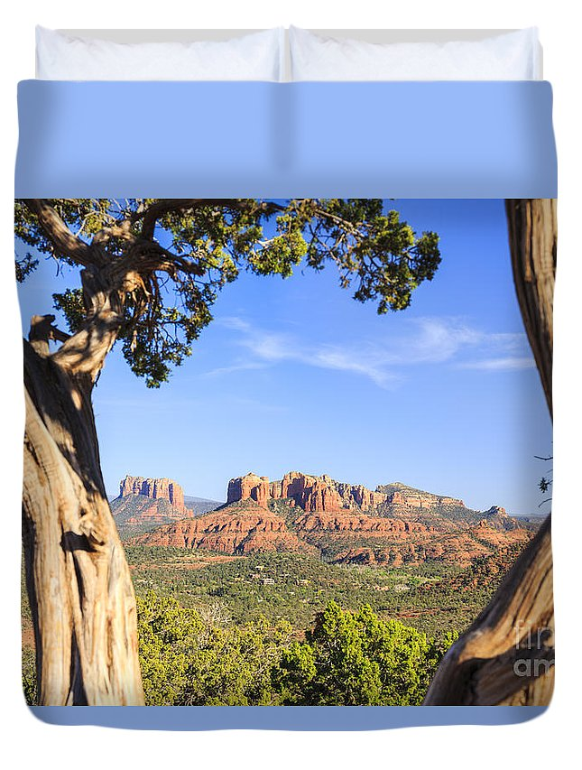 Red Rock Duvet Cover featuring the photograph Cathedral Rock Framed By Juniper In Sedona Arizona by Ken Brown