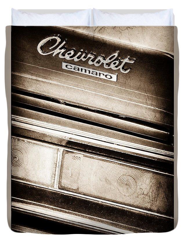 Chevrolet Camaro Taillight Emblem Duvet Cover featuring the photograph Chevrolet Camaro Taillight Emblem by Jill Reger