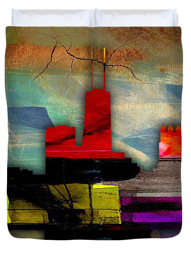 Chicago Art Duvet Cover featuring the mixed media Chicago Skyline Watercolor by Marvin Blaine