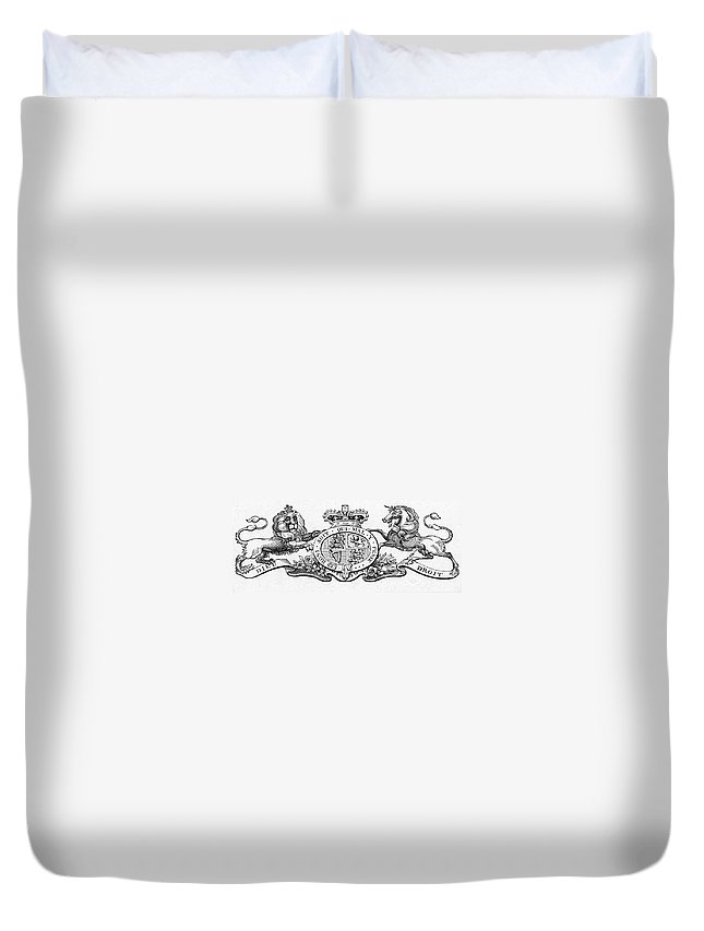 Coat Of Arms Duvet Cover featuring the painting Coat Of Arms Great Britain by Granger