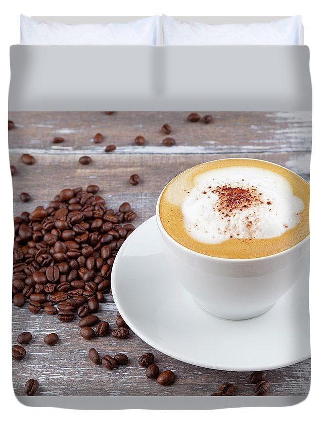 Cappuccino Duvet Cover featuring the photograph Coffee by Focusstock
