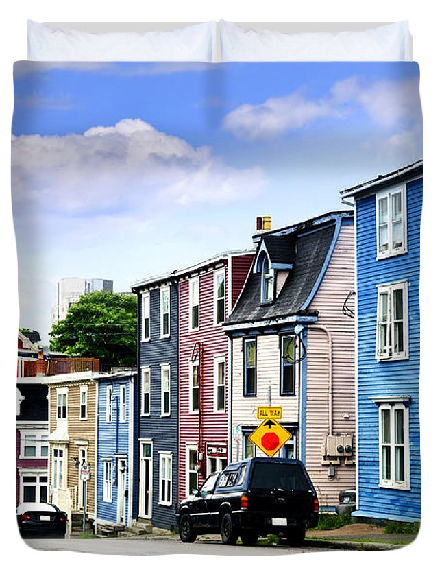 Street Duvet Cover featuring the photograph Colorful Houses In St. John's by Elena Elisseeva