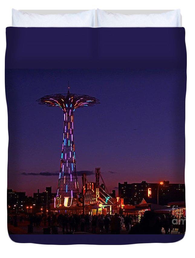 Parachute Jump Duvet Cover featuring the photograph Coney Island Amusement Park by Kendall Eutemey
