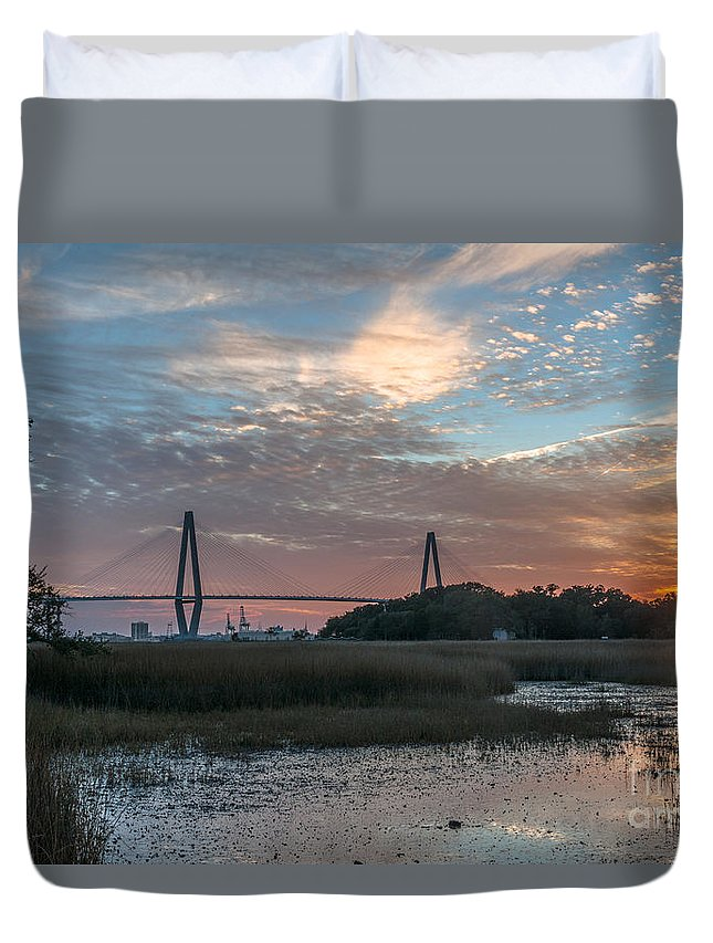 Sunset Duvet Cover featuring the photograph Charleston Cooper River Bridge by Dale Powell