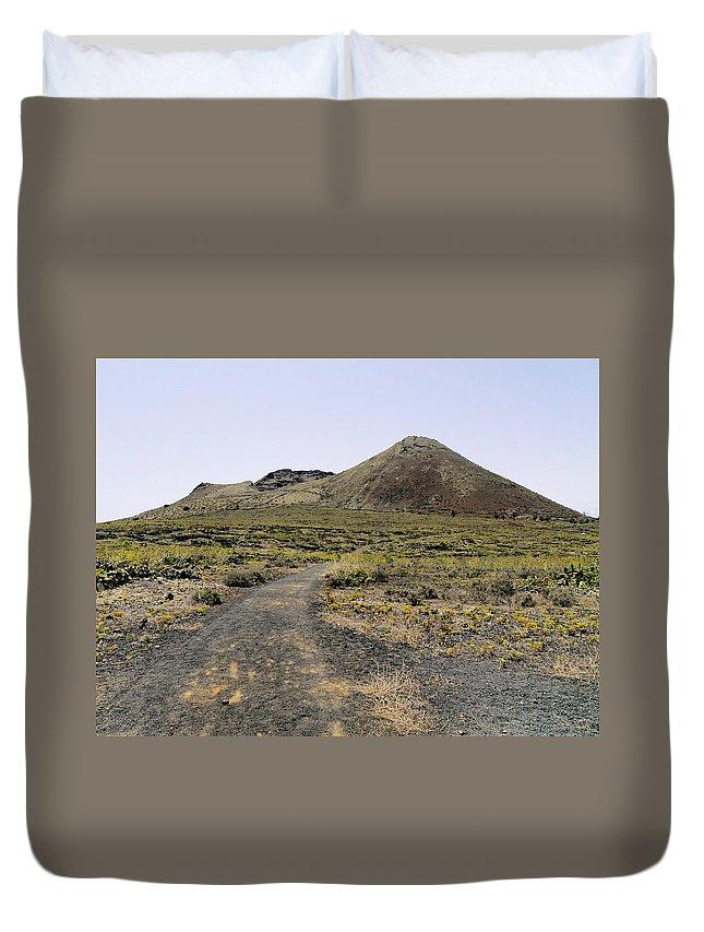 Volcano Duvet Cover featuring the photograph Corona Volcano On Lanzarote by Karol Kozlowski