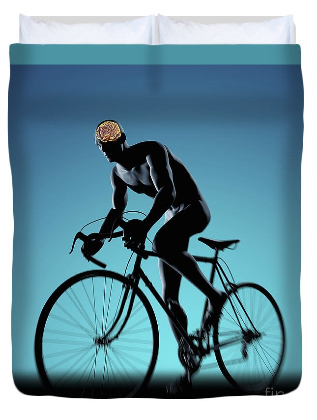 Thought Duvet Cover featuring the photograph Cycling by Science Picture Co