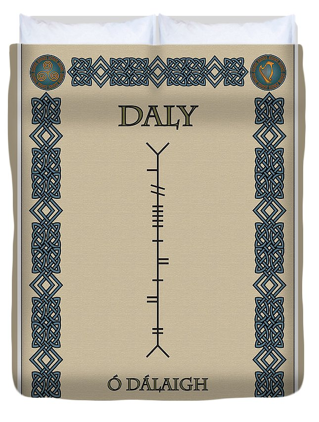 Daly Duvet Cover featuring the digital art Daly Written In Ogham by Ireland Calling