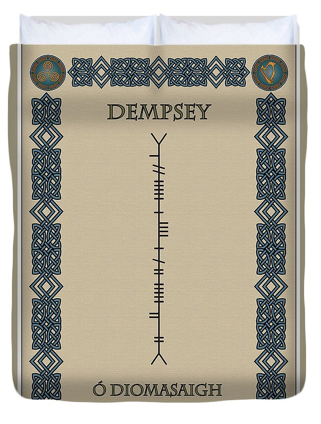 Dempsey Duvet Cover featuring the digital art Dempsey Written In Ogham by Ireland Calling