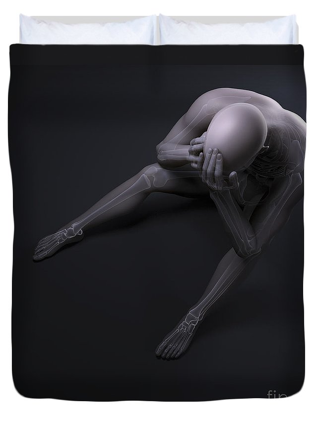 3d Visualization Duvet Cover featuring the photograph Depression by Science Picture Co