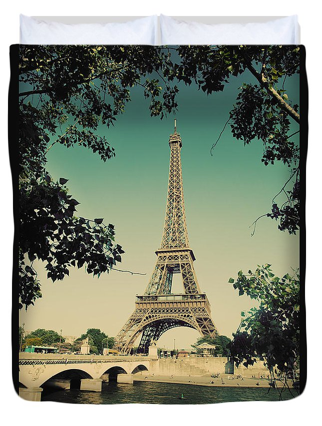 Eiffel Duvet Cover featuring the photograph Eiffel Tower And Bridge On Seine River In Paris by Michal Bednarek