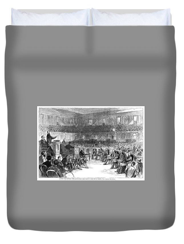 1876 Duvet Cover featuring the painting Electoral Commission, 1877 by Granger