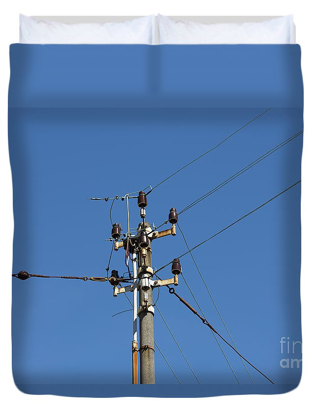 Electricity Pylon Duvet Cover featuring the photograph Electric Pylon by Mats Silvan