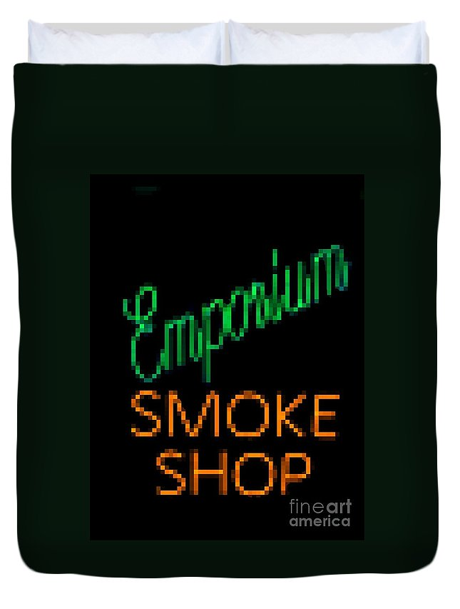 Duvet Cover featuring the photograph Emporium Smoke Shop by Kelly Awad
