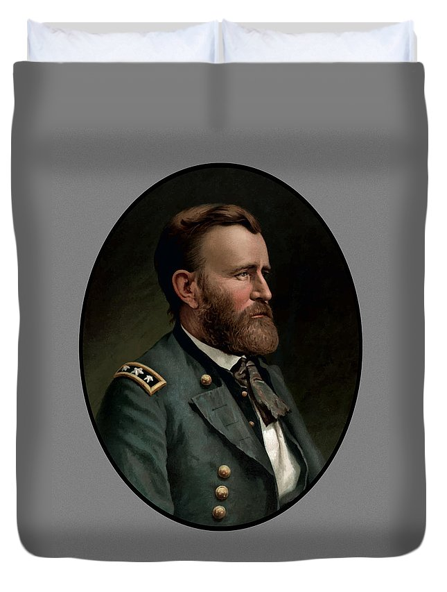 Civil War Duvet Cover featuring the painting General Grant - Three by War Is Hell Store