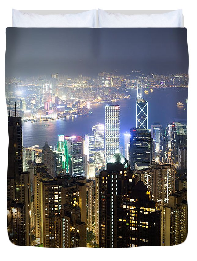 Hong Kong Duvet Cover featuring the photograph Hong Kong Harbor From Victoria Peak At Night by Matteo Colombo
