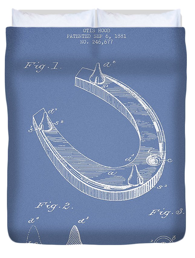 Horseshoe Duvet Cover featuring the digital art Horseshoe Patent Drawing From 1881 by Aged Pixel