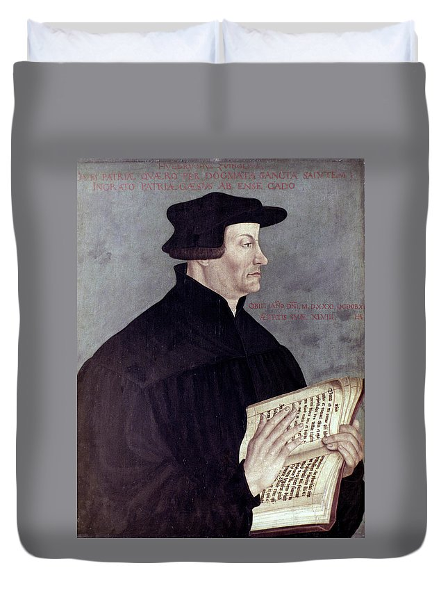 16th Century Duvet Cover featuring the painting Huldreich Zwingli (1484-1531) by Granger
