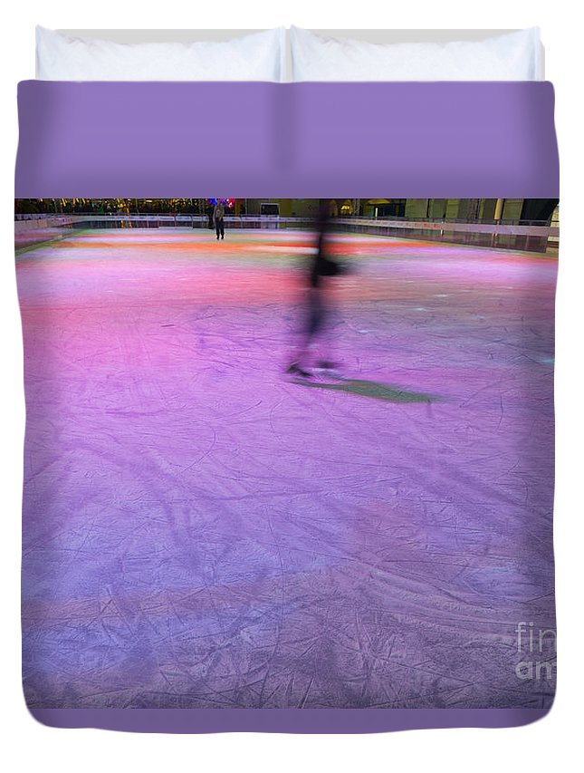 Ice Skating Duvet Cover featuring the photograph Ice Skating by Mats Silvan