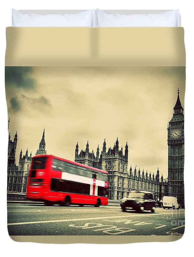 London Duvet Cover featuring the photograph London Uk Red Bus In Motion And Big Ben by Michal Bednarek