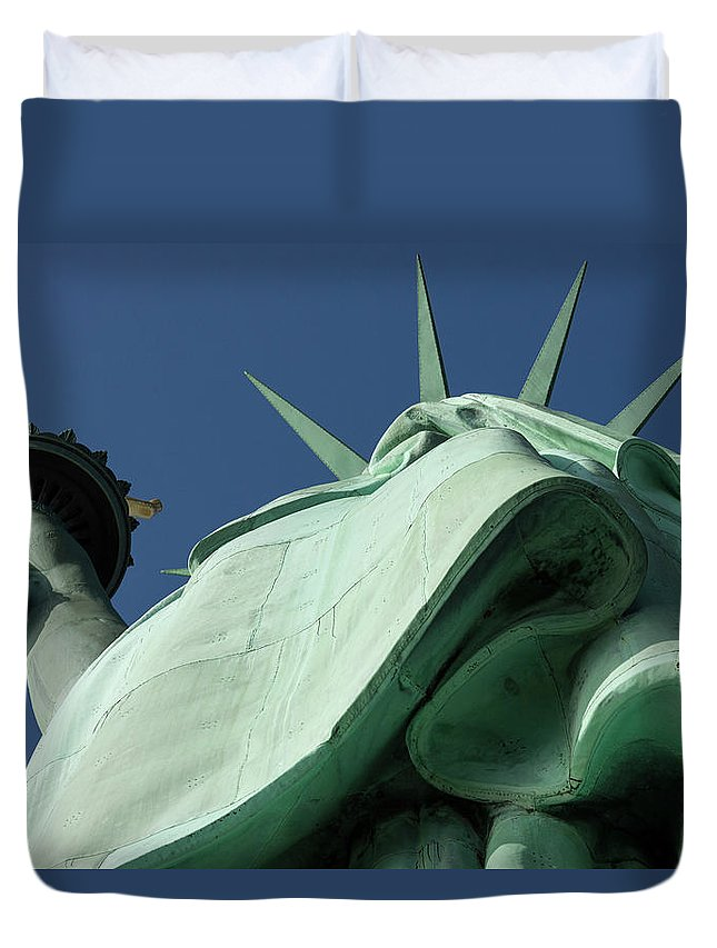 Photography Duvet Cover featuring the photograph Low Angle View Of Statue Of Liberty by Panoramic Images