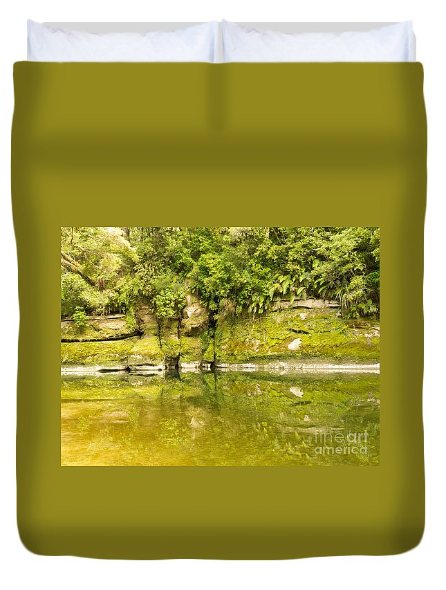 South Island Duvet Cover featuring the photograph Lush Green Rainforest Along Pororai River Nz by Stephan Pietzko