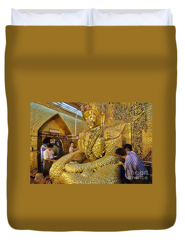 Myanmar Duvet Cover featuring the photograph 4 M Tall Sitting Buddha With Thick Layer Of Golden Leaves In Mahamuni Pagoda Mandalay Myanmar by Juergen Ritterbach