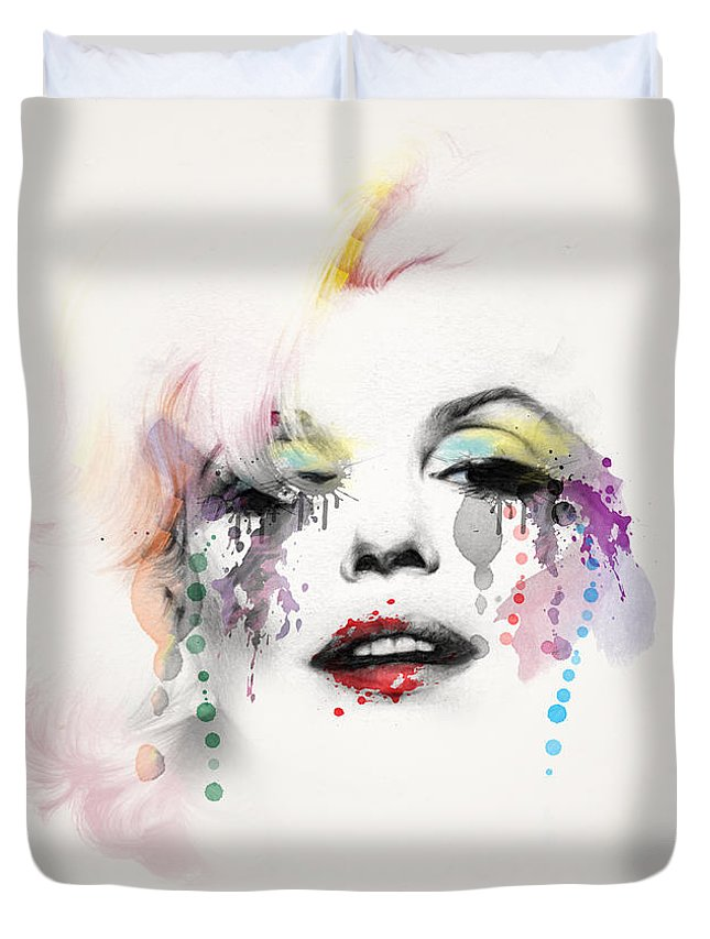 Pop Art Duvet Cover featuring the painting Marilyn Monroe by Mark Ashkenazi