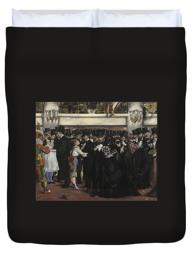 Edouard Manet Duvet Cover featuring the painting Masked Ball At The Opera by Edouard Manet